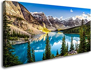 Wall Pictures for Living Room Moraine Lake Landscape Banff National Park Photos Large Canvas Prints Framed Wall Art Modern Nature Pictures for Bedroom Wall Decor XLarge Canvas Wall Art 24x48inch