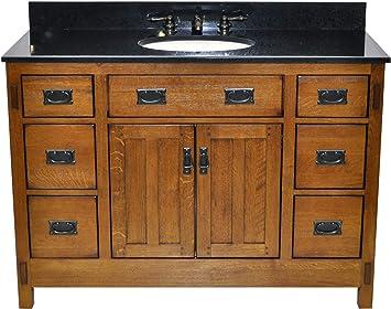 Sagehill Designs American Craftsman 48 Bathroom Vanity Base Rustic Oak Finish Amazon Com
