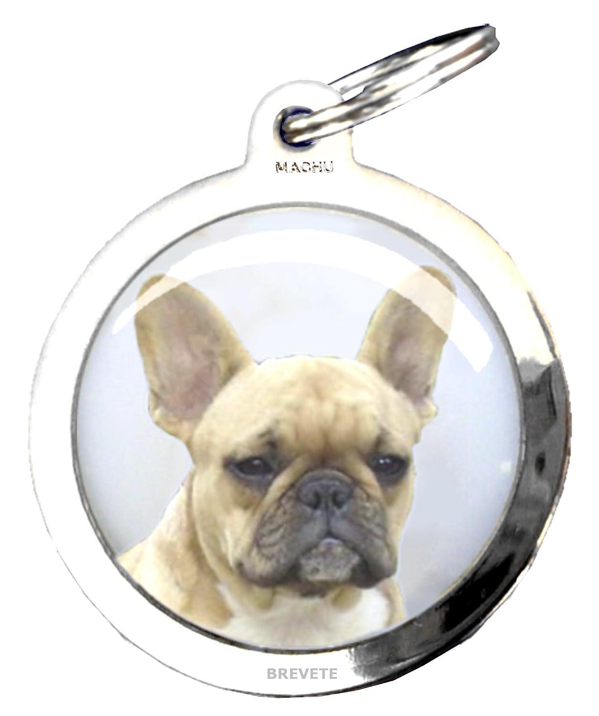 Machu - Médaille chien BOULEDOGUE FRANÇAIS BRUN - Chromée - Alliant robustesse et esthétique - Dôme polymère translucide: haute résistance aux frottements, chocs, Eau, UV . + 50 races dispo. Gravures profondes et soignées OFFERTES.