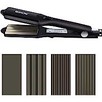 DSHOW 4 in 1 Hair Crimper Hair Waver Hair Straightener Curling Iron with 4 Interchangeable Titanium Ceramic Flat…