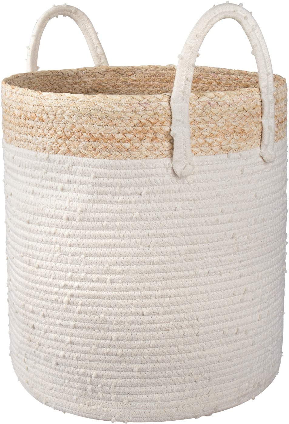 LA JOLIE MUSE Woven Basket Rope Storage Basket - Large Cotton Organizer 16 x 14 x 14 Inches, Natural and Safe for Baby and Kids, Two-Tone Woven Organizer with Corn Skin