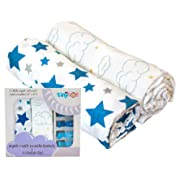 Swaddle Blanket - My Tiny Tot - Muslin Baby Blanket, Star & Cloud Baby Swaddles | Ultra Soft | Organic | for Boys