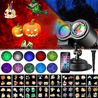 LTPAG Luces de Proyector de Halloween y Navidad, 16 Modes Luz ...
