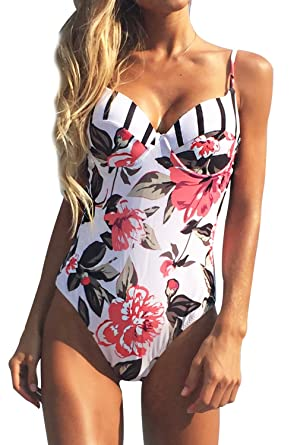 3d721b2e7aa CUPSHE Women's Floral Printing One-Piece Swimsuit Beach Bathing Suit Small