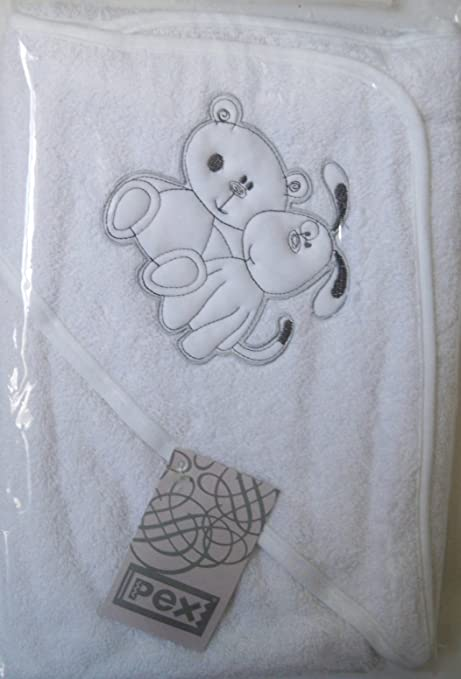 Pex Blanco Algodón Toalla de baño con capucha, diseño de cachorro de oso de peluche