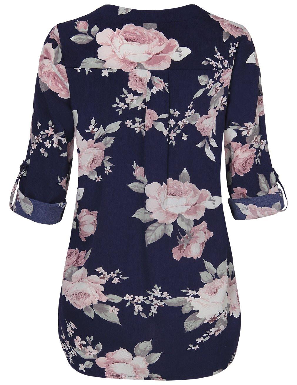 Youtalia Casual Women Blouses Tops, Plus Size Business V Neck Long Sleeve Chiffon Tshirt Multicolor Blue Medium by Youtalia (Image #2)