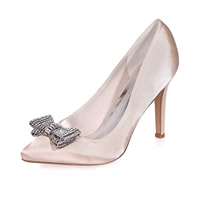 78637db70c LLBubble Women High Heels Pointed Toe Wedding Shoes Crystal Bow Satin Prom  Evening Formal Party Pumps