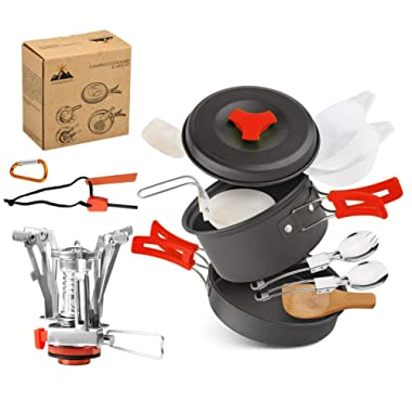 AnimaMiracle 14/15 Pcs Camping Cookware Set Hiking Camping Backpacking Gear & Camping Outdoors Survival Utensils Cooking Equipment Cooking pots | Mini Non-Stick pan, Lightweight,Best Camping Mess kit