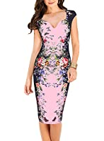 oxiuly Women's Floral Patchwork Casual Party Cocktail Work Pencil Dress X160
