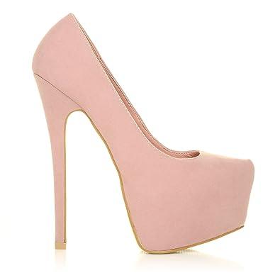 0fd1f40a3a8d DONNA Baby Pink Faux Suede Stilleto Very High Heel Platform Court Shoes  Size UK 5 EU