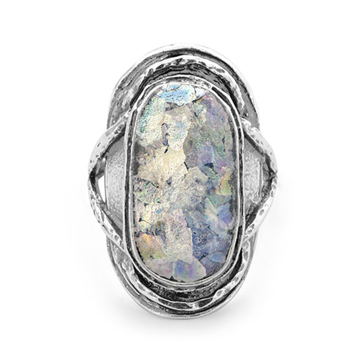 Ancient Roman Glass Ring Oval Shape Antiqued Sterling Silver, 8 by AzureBella Jewelry
