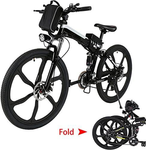 Aceshin 26 Folding Electric Mountain Bike with Removable Large Capacity Lithium-Ion Battery 36V 250W , Electric Bicycle 21 Speed Gear and Three Working Modes