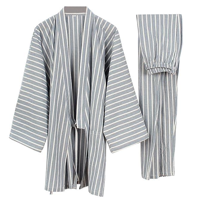 Fancy Pumpkin Trajes de Estilo Japonés para Hombre Kimono Pijama Traje Vestido Conjunto [Talla L
