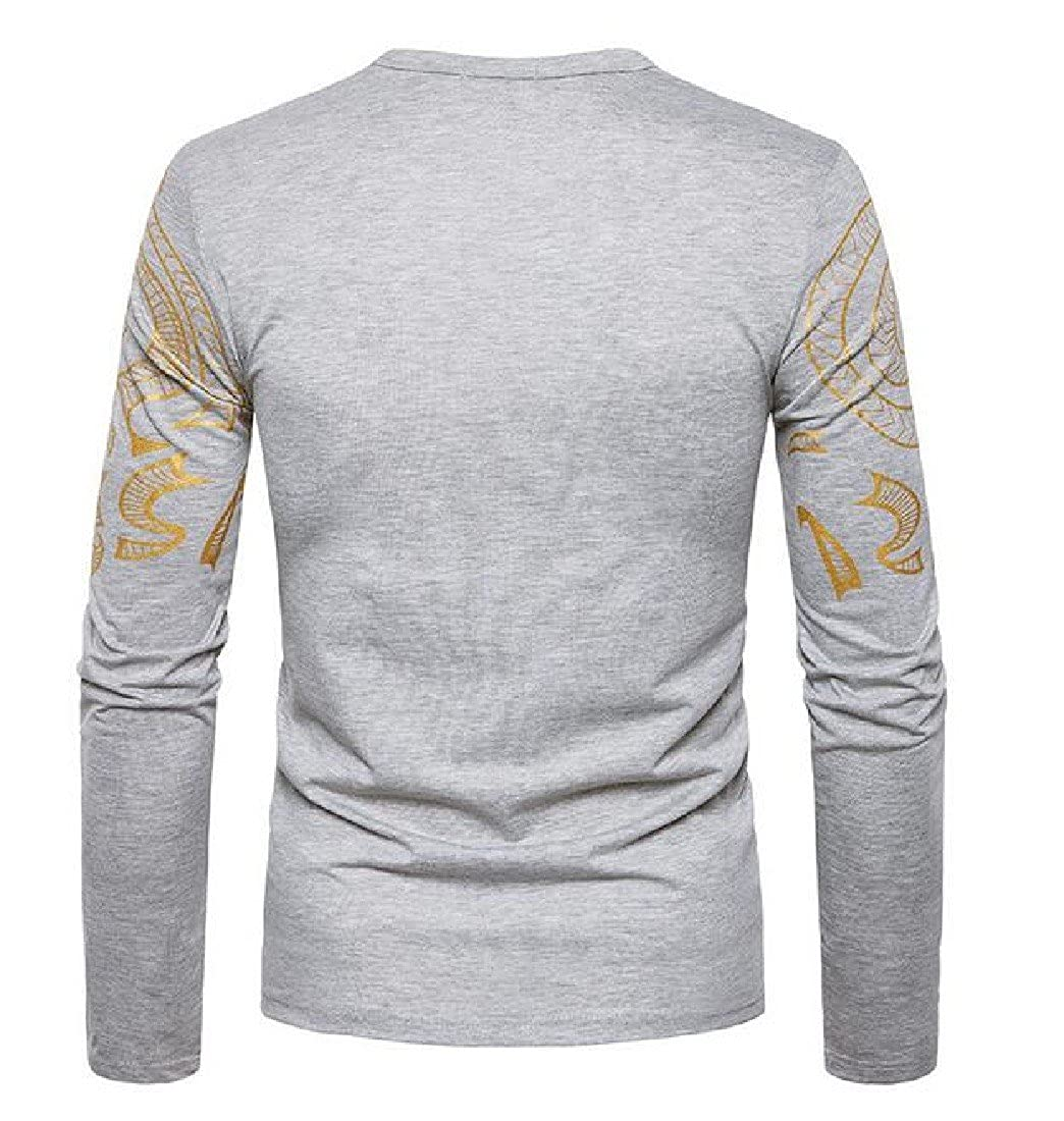 RSunshine Mens Long Sleeve O-Neck Tops Pullover Tees Wild Top T-Shirts