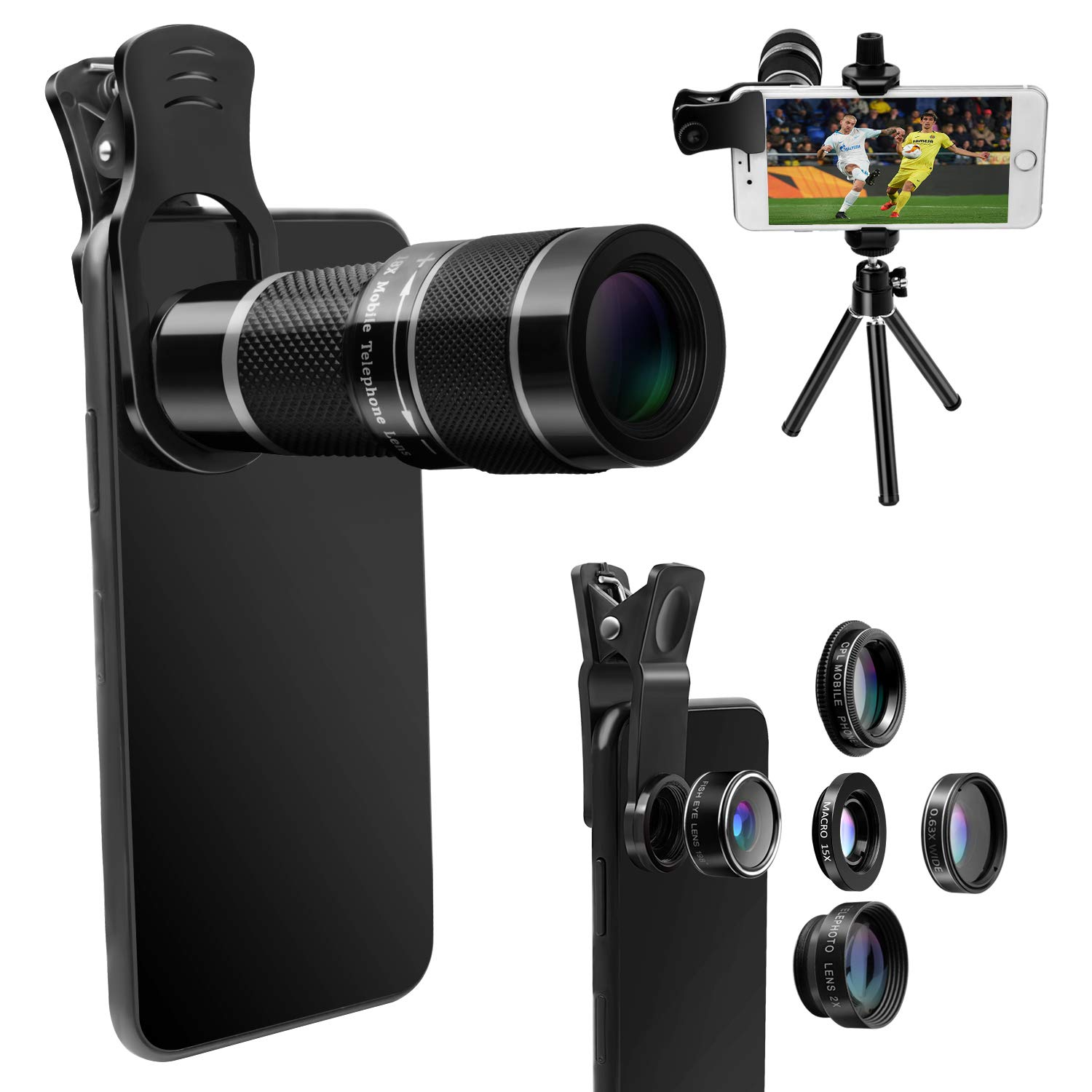 Cell-Phone Lens Kit with Tripod+Remote Shutter,6 in 1 Camera Lens Set for iPhone-18X Telephoto Lens+Wide Angle& Macro Lens+Fisheye+2X Lens+CPL, for Most Smart-Phone