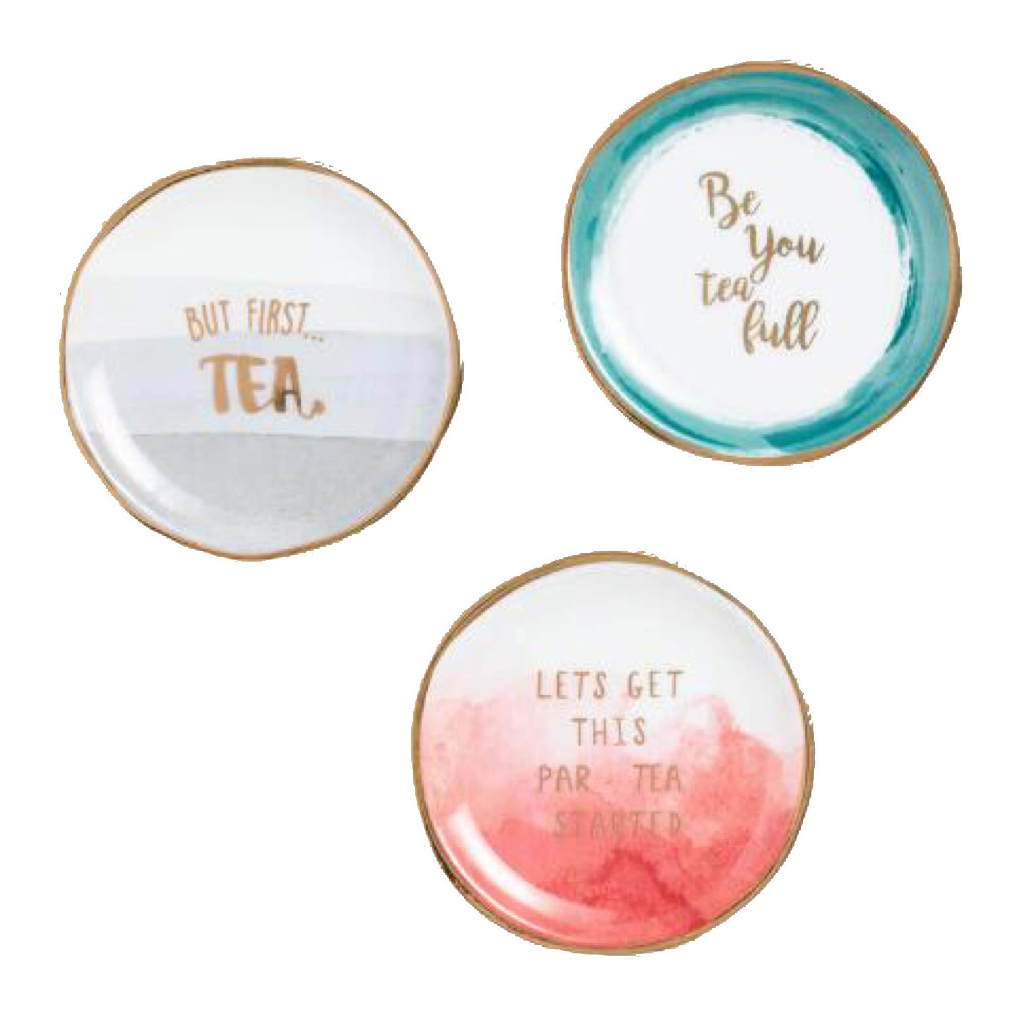 Watercolor Sentimental Sayings Porcelain Tea Bag Rests - Set of 3