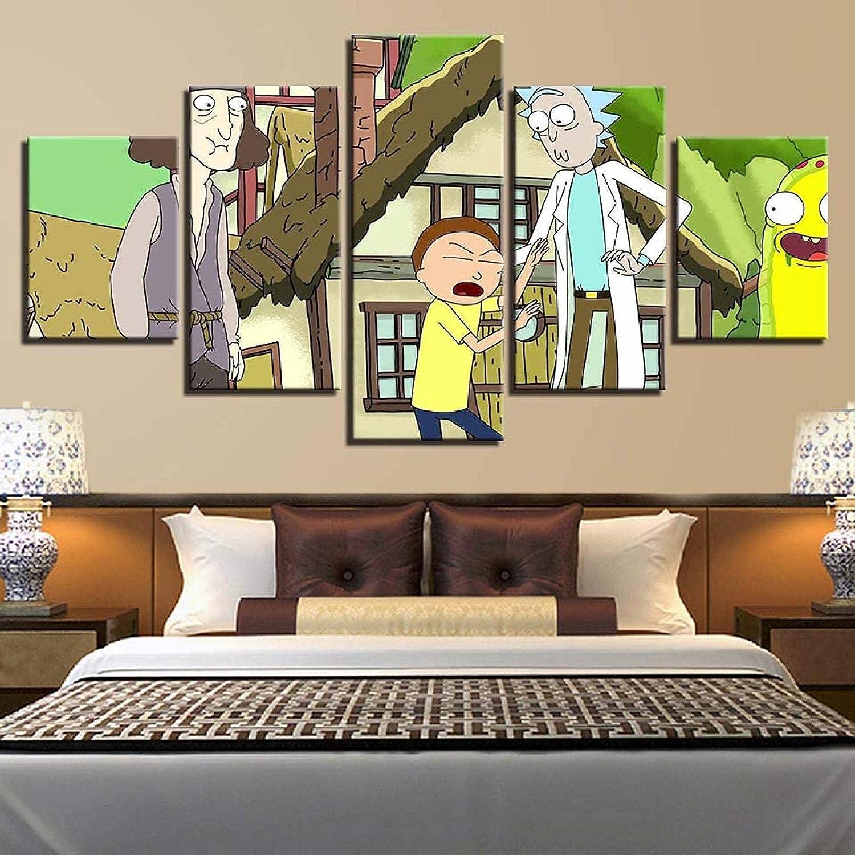 Living Equipment Arte de la pared Pintura Imágenes Impresión en lienzo Enmarcado 200X100Cm 5 Paneles Personajes de anime Boy La imagen para el hogar Decoración moderna Dormitorio Cocina Sala de est