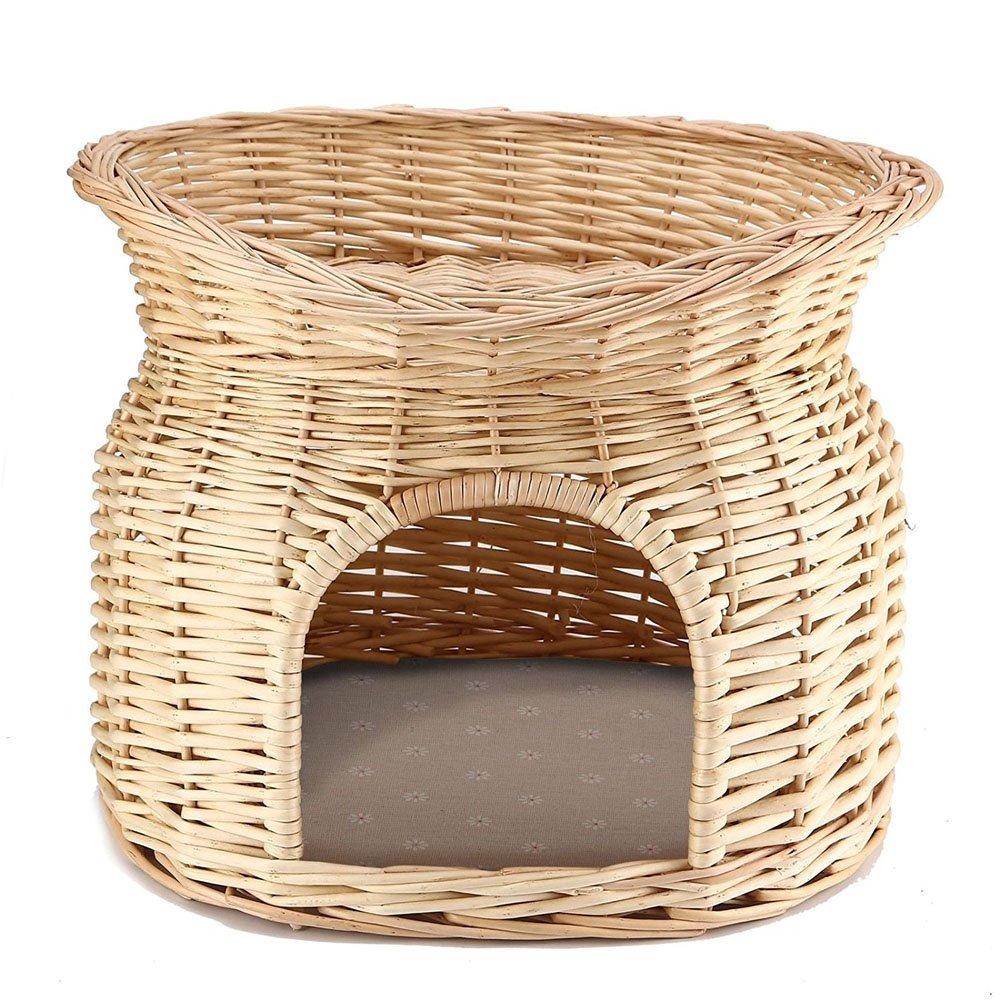GK 2étages en osier Panier Chaton Chat Panier pour animal domestique de couchage Maison Pod Grotte Coussin Puppy Ardisle
