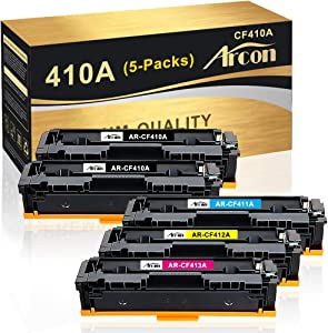 Arcon Compatible Toner Cartridge Replacement for HP 410A CF410A 410X HP Color Laserjet Pro MFP M477fnw M477fdn M477fdw M477 M452dn M452dw M452nw M452 M377dw CF411A CF412A CF413A Toner Printer-4PK