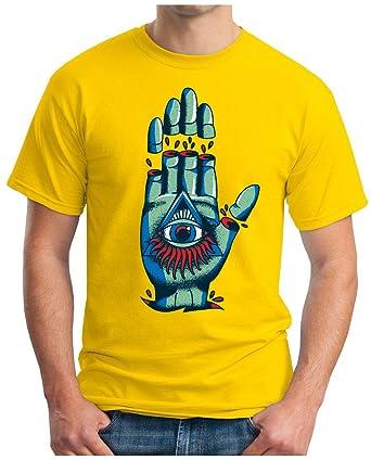 OM3 - ILLUMINATI-HAND - T-Shirt GEEK, S, Gelb