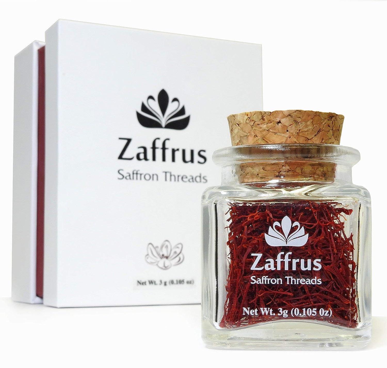Zaffrus - Super-Premium All Red Saffron Threads For Cooking Saffron Rice, Risotto, Paella, Persian Tahdig, Tea, Golden Milk (3 grams / .105 oz)