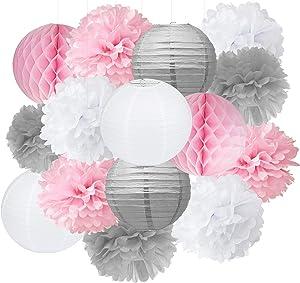 Baby Shower Decorations Furuix 15pcs Pink Grey White Party Decoration Kit Tissue Paper Pom Pom Honeycomb Ball for Bridal Shower Girls' Birthday Wedding Birthday Party Decorations Pink