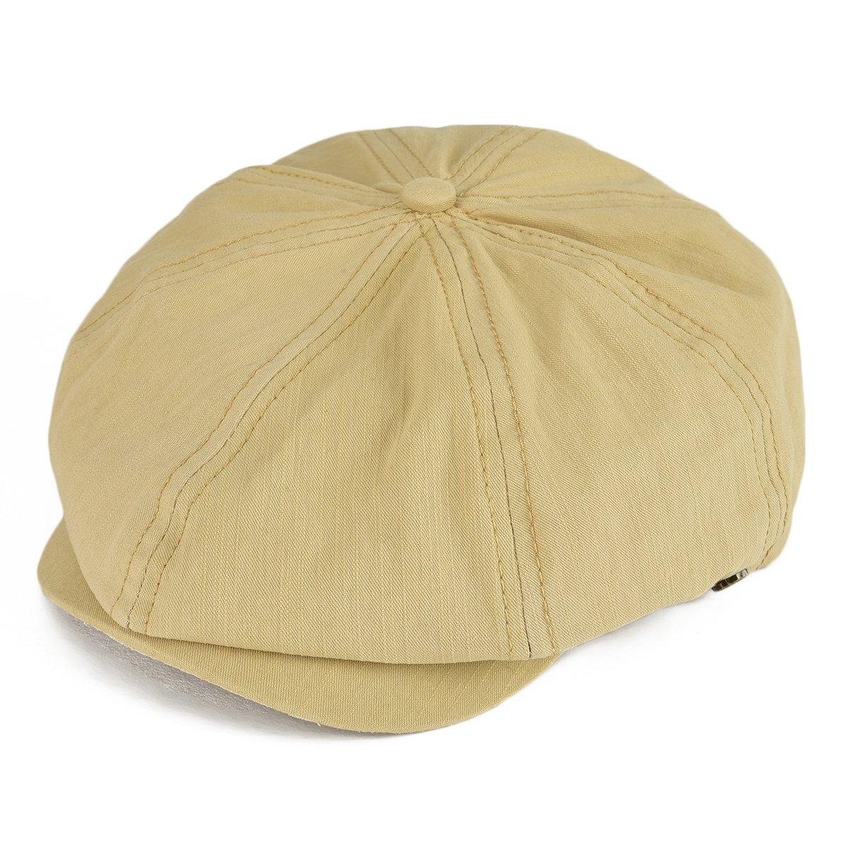VOBOOM 100% Cotton Newsboy Caps 8 Pannel Cabbie Hat Gatsby Hat 2 Way BDMZ134 (Khaki)