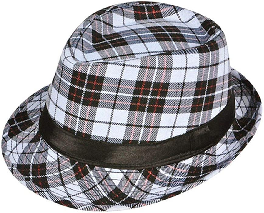 69f22c9b3479e Amazon.com  Deluxe White Black Red Plaid Pattern Classic Gangster Costume  Fashion Fedora Hat  Clothing