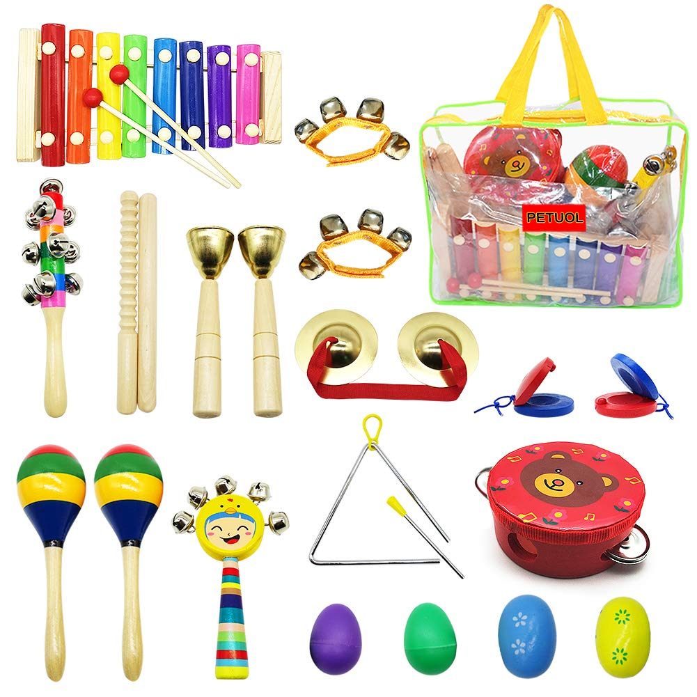 PETUOL Kids Musical Instruments, 22pcs Wood Percussion Instruments Toys Set for Children Musical Movement-Music Rhythm Percussion Kit for Toddle Boy and Girls with Portable Clear Handbag Xylophone