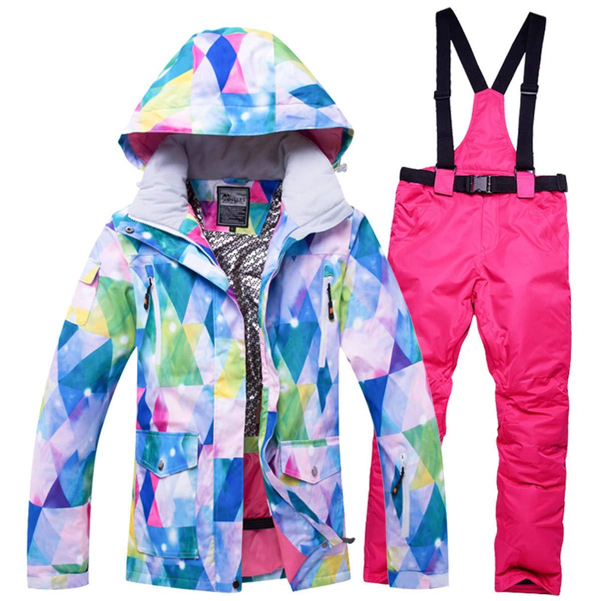 Snow 6 REWANGOING Women's Ski Bib Suit Winter Warm Jacket Waterproof Snowboard colorful Printed Ski Jacket and Pants Set