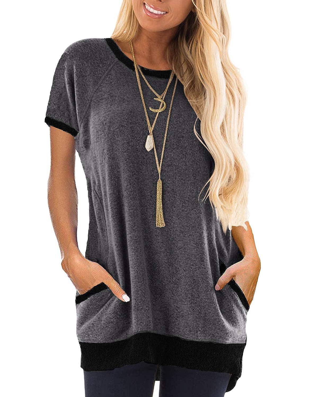 GADEWAKE Womens Summer Casual Color Block Short Sleeve Round Neck Pocket T Shirts Blouses Tunics Tops