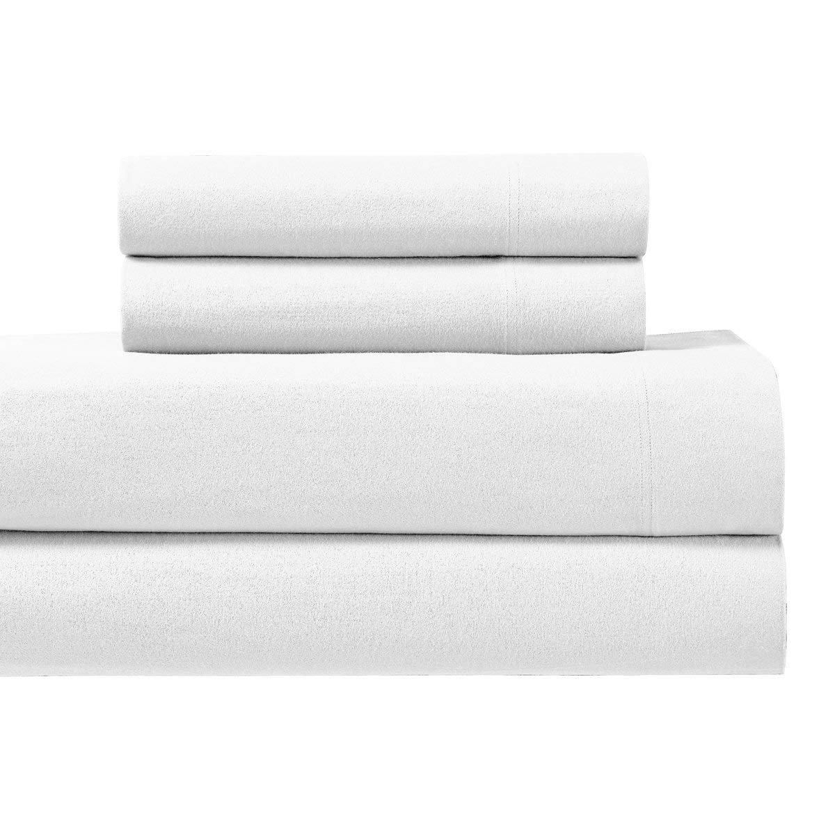 Royal's Heavy Soft 100% Cotton Flannel Sheets, 4pc Bed Sheet Set, Deep Pocket, Thick, Heavy and Ultra Soft Cotton Flannel, White, California-King Royal Hotel Bedding