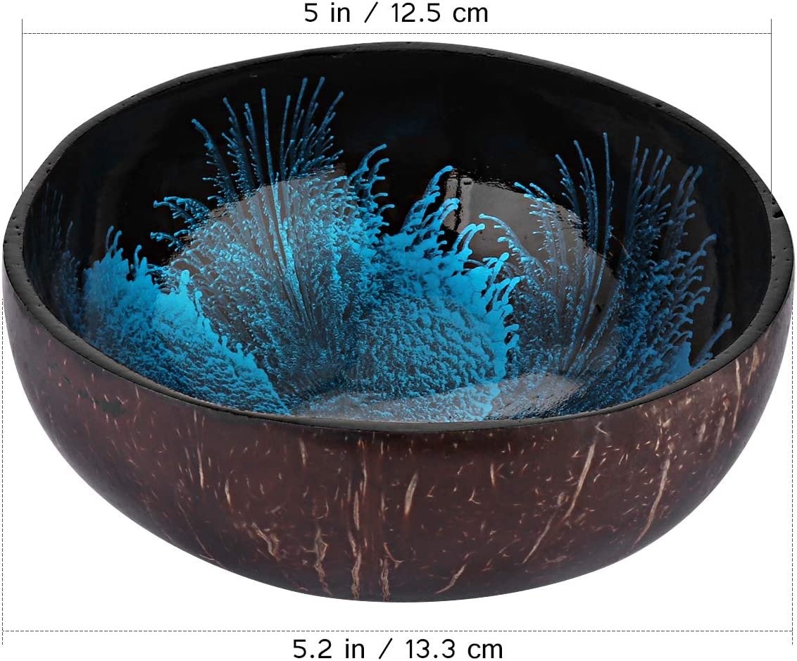 Coconut Bowls Natural Coconut Shell Storage Bowl Coconut Serving Bowls Candy Container Nuts Holder (Blue)