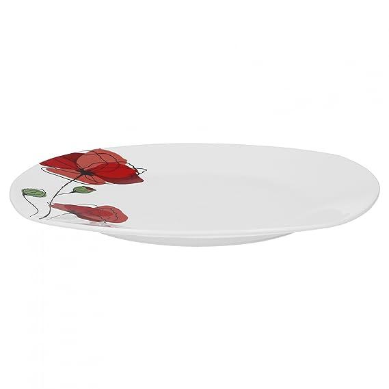 Monika leicht eckig Porzellan 12 Personen mit roten Blumen Kombiservice 124tlg