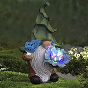 Garden Gnome Statue, Resin Gnome Figurine Holding Butterfly and Magic Orb with Solar LED Lights, Outdoor Decoration for Patio Yard Lawn Porch, Ornament Gift