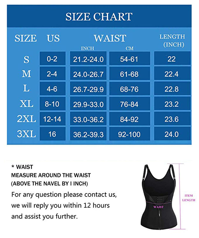 BSFASTHK Waist Trainer for Women Hourglass Waist Cincher Best Adjustable Shoulder Strap with Zipper for Weight Loss (Black, XXL)