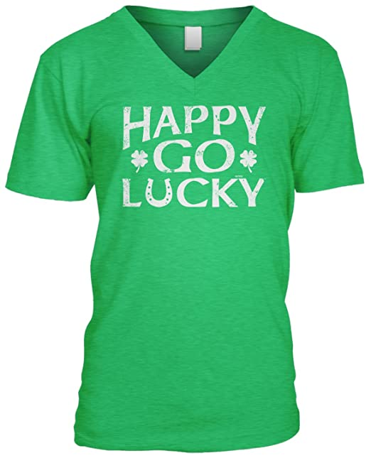 977c31c3 Amazon.com: Blittzen Mens V-Neck T-Shirt Happy Go Lucky - ST Patricks Day:  Clothing