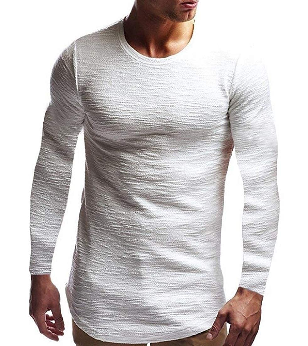 Men Hipster Long Sleeve Slim Fit Stretchy Solid Pullover T Shirt Tops