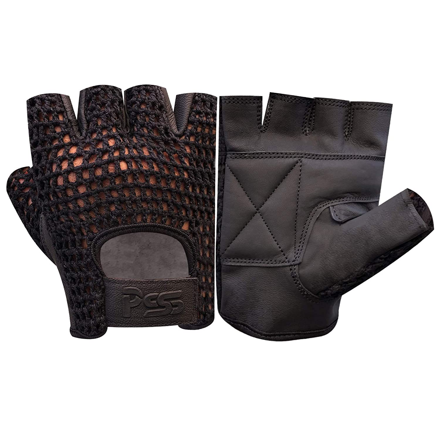 New Mesh Leather Bus Driving Gloves Cycling Gym Wheelchair Training Finger Less