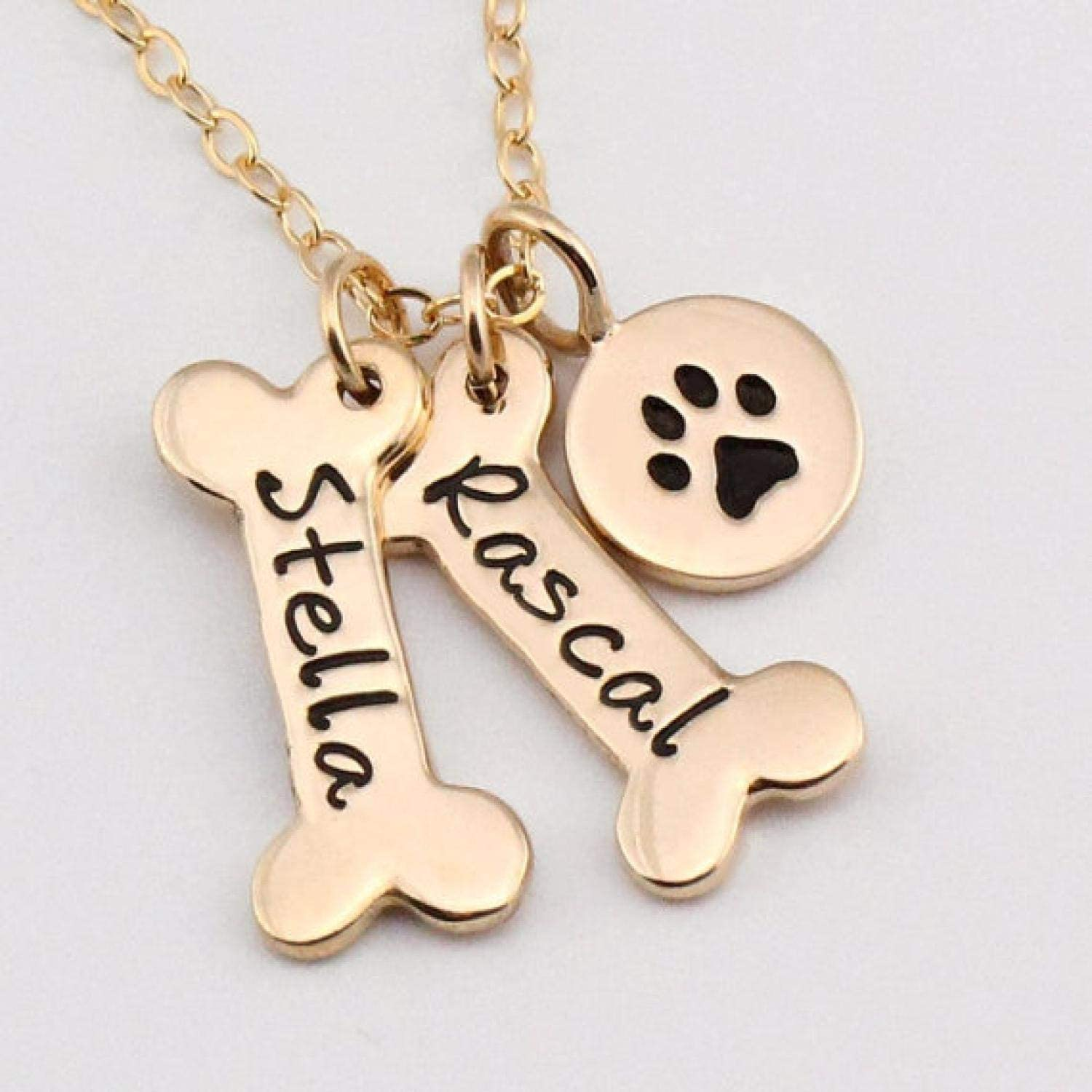 Bart Holt Name Necklace Dog Paw Necklace Personalized Dog Necklace Dog Bone Initial Charm Pet Jewelry