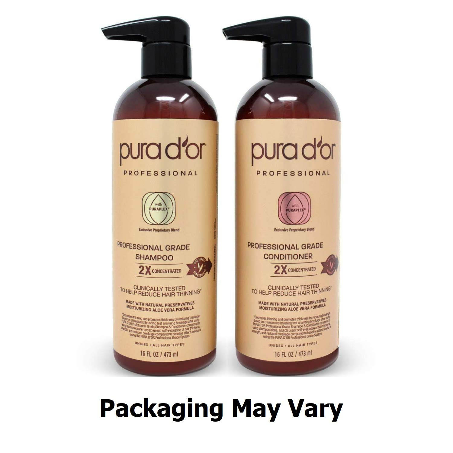 PURA D'OR Professional Grade Golden Biotin Anti-Hair Thinning 2X Concentrated Actives Shampoo & Conditioner Set, Sulfate Free, Natural Ingredients, Clinically Tested, Men & Women (Packaging may vary) by PURA D'OR (Image #2)