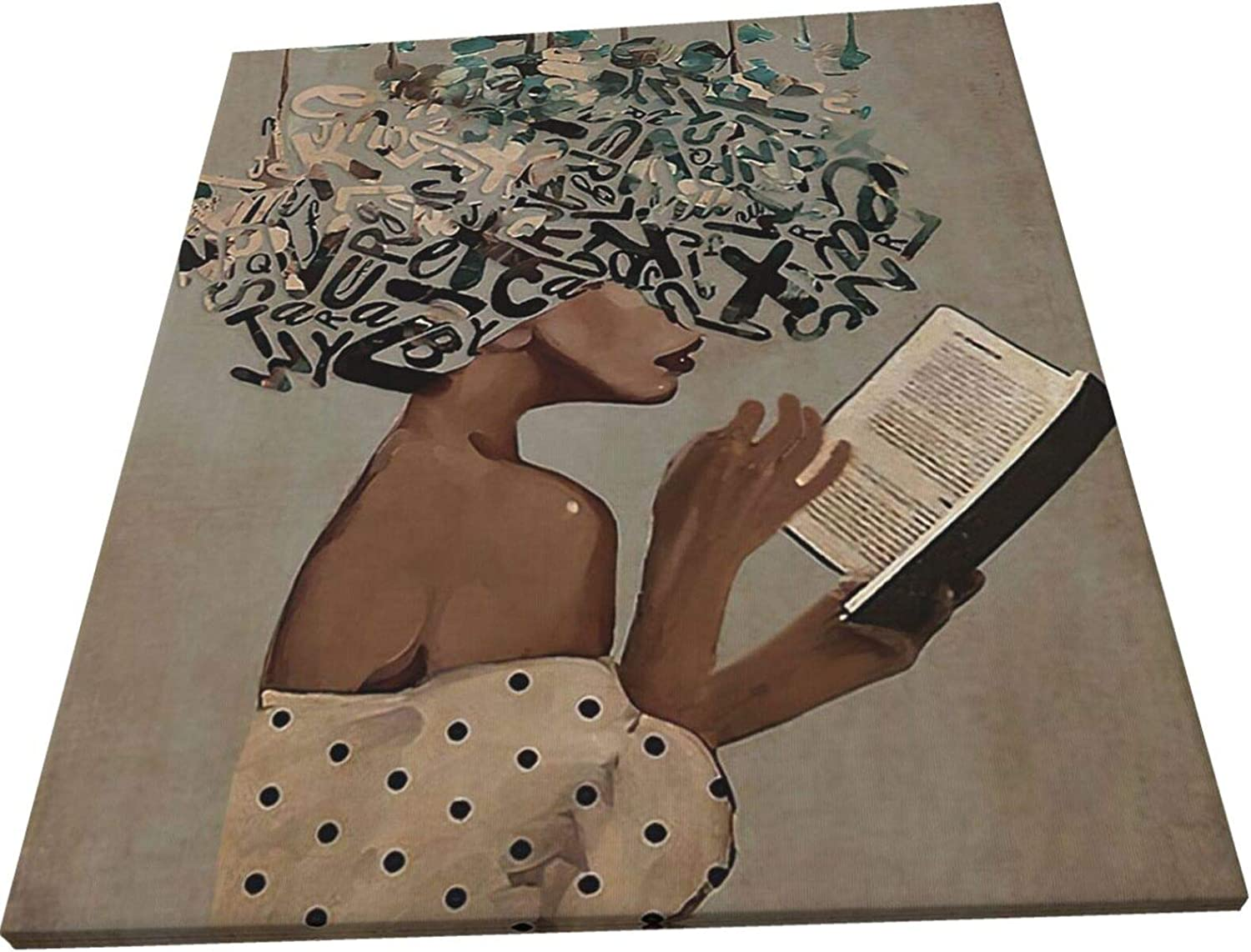 African American Wall Art Abstract Black Girl Drinking Red Wine Modern Decorative Artwork for Bedroom Home Office Framed Ready to Hang
