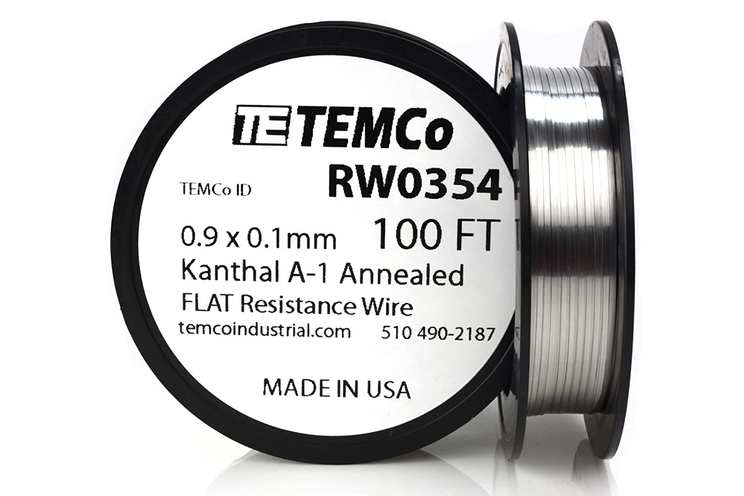 TEMCo Flat Ribbon Kanthal A1 Wire 0.9mm x 0.1mm 100 Ft Resistance A ...