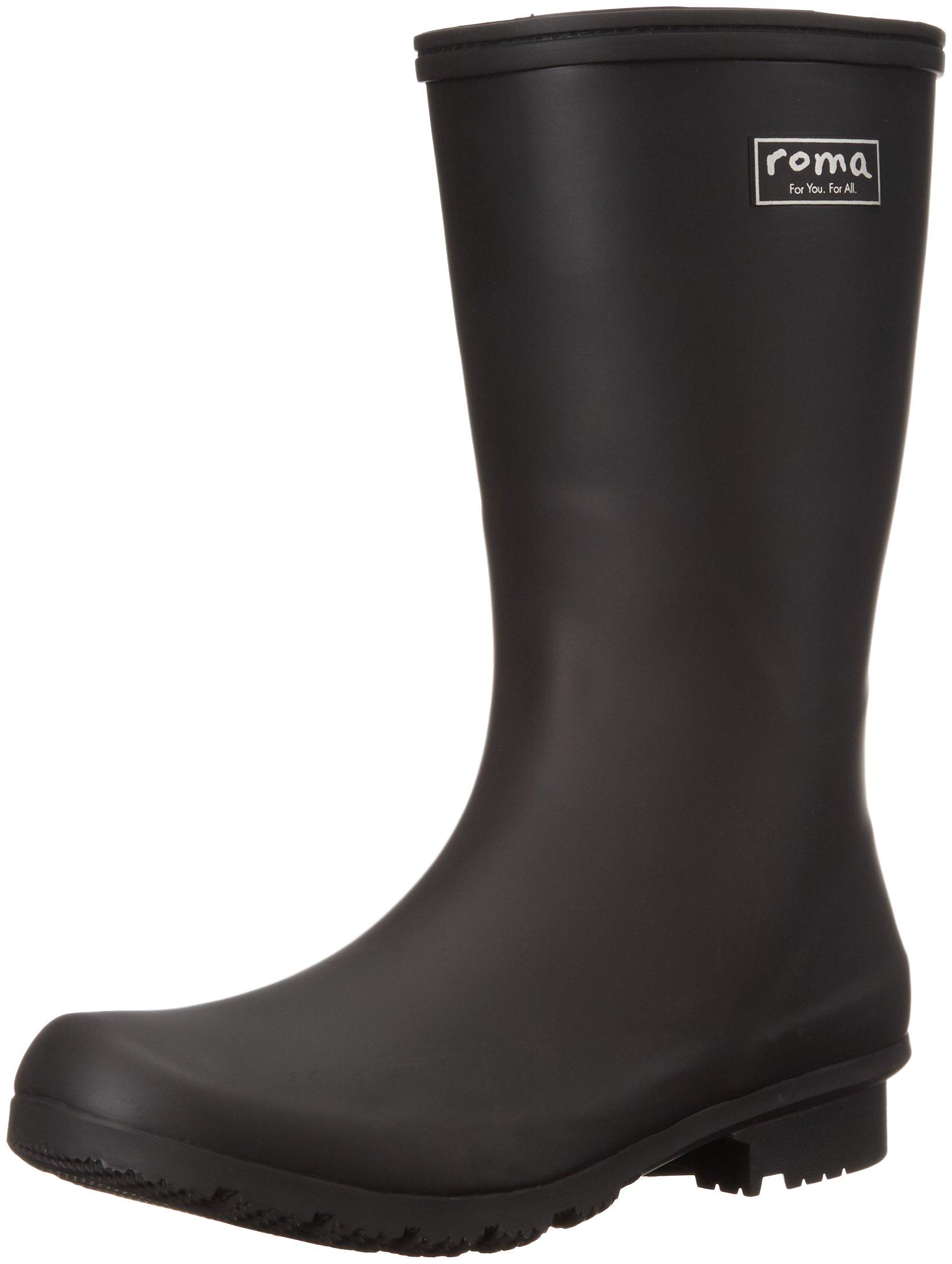 Roma Boots Women's EMMA Mid Rain Boots, Matte Black, 9 M US