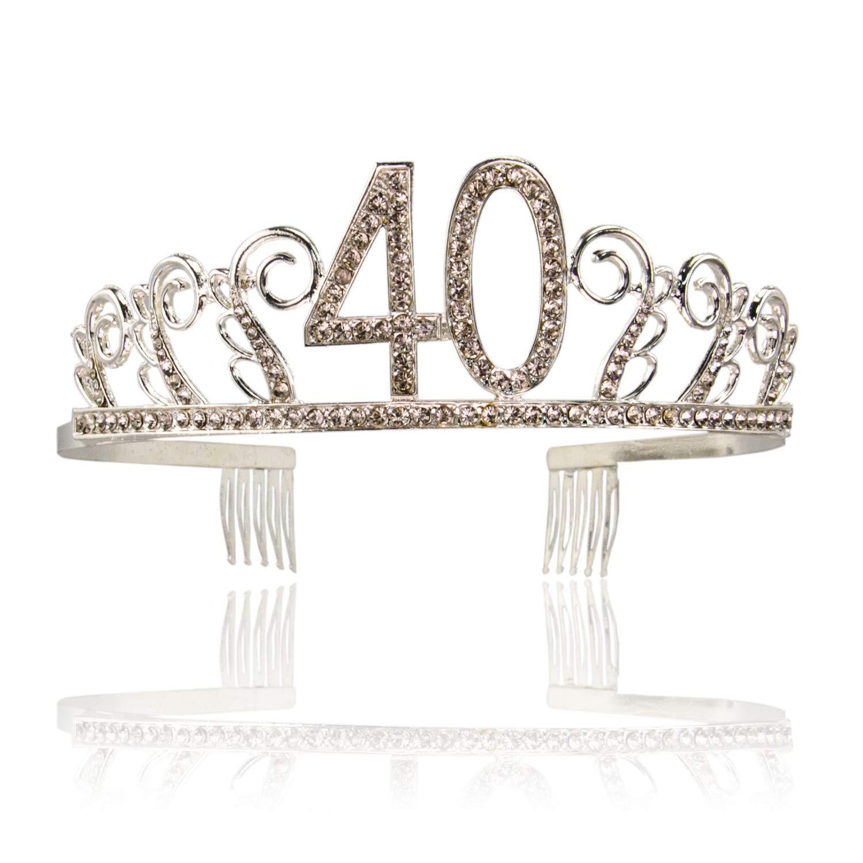 Amazon.com: Corona de satén y tiara de 40 cumpleaños, color ...