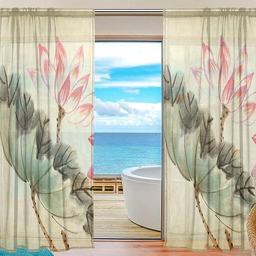 Reviewed: MNSRUU Japanese Pink Lotus Flowers Sheer Curtains 84 Inches Long