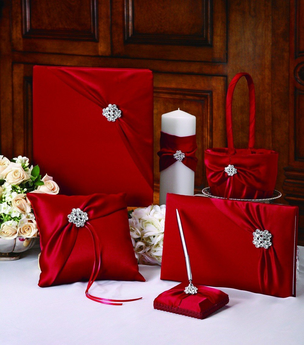 RaeBella Weddings Winter Red Garbo Wedding Ceremony Collection Matte Satin Set