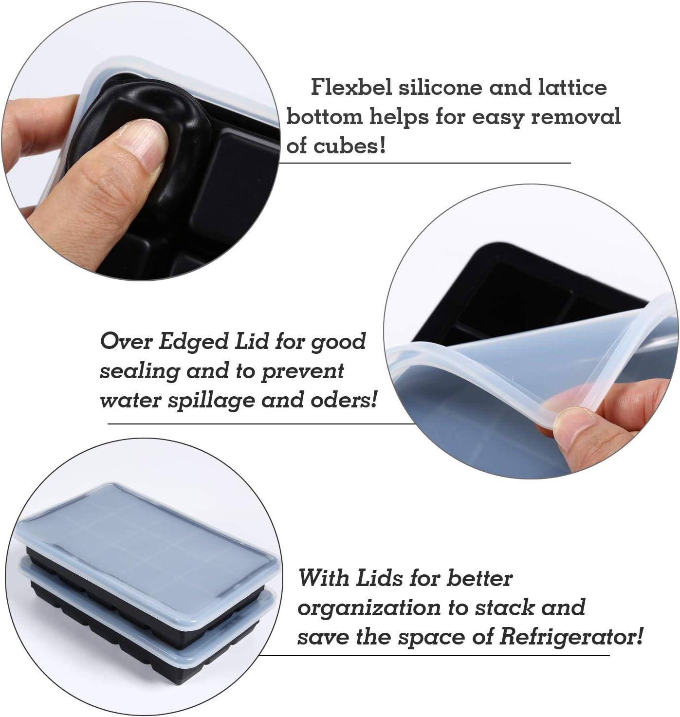 LessMo 3cm Bac /à gla/çons Bleu 2 moules pour gla/çons en Silicone avec couvercles Anti-/éclaboussures