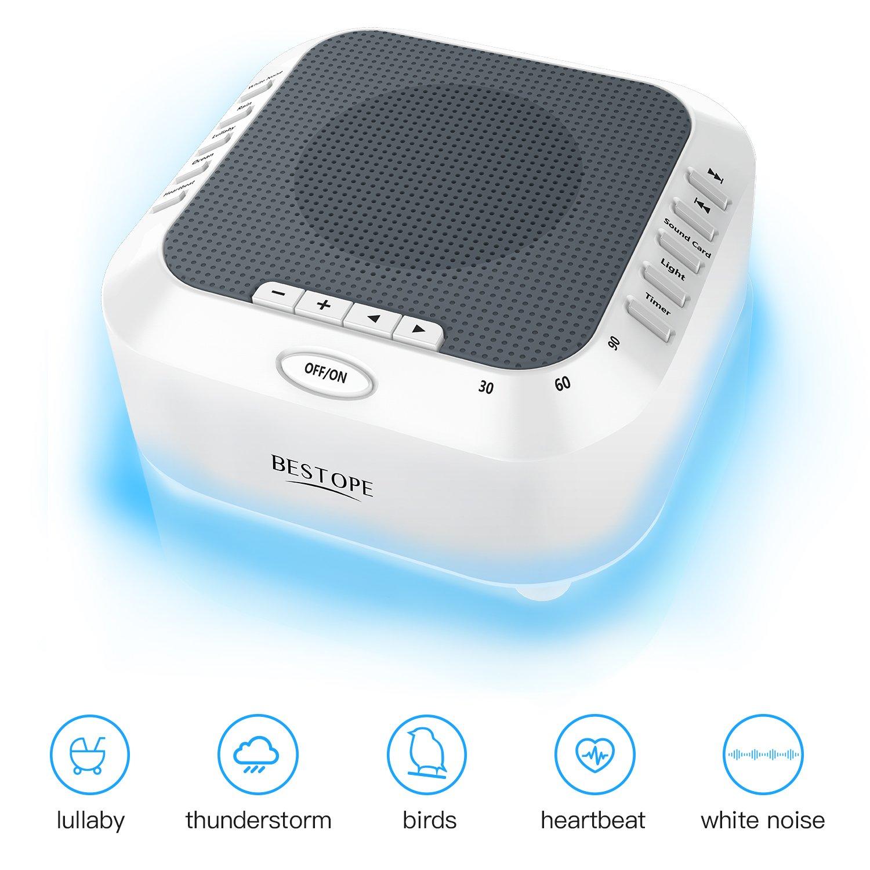 Macchina per dormire BESTOPE con macchina per rumore bianco con configurazione timer, luce notturna a LED, USB e 5 suoni naturali per neonati, bambini e adulti