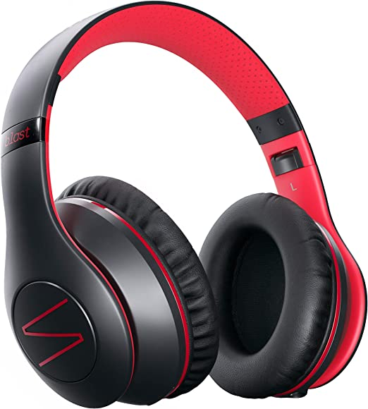 Amazon Com Symphonized Blast Wireless Bluetooth Headphones With Mic Over Ear Headphones For Iphone Samsung And More 22 Playtime Hours For Travel Work Deep Bass Headphones With Noise Isolation Red